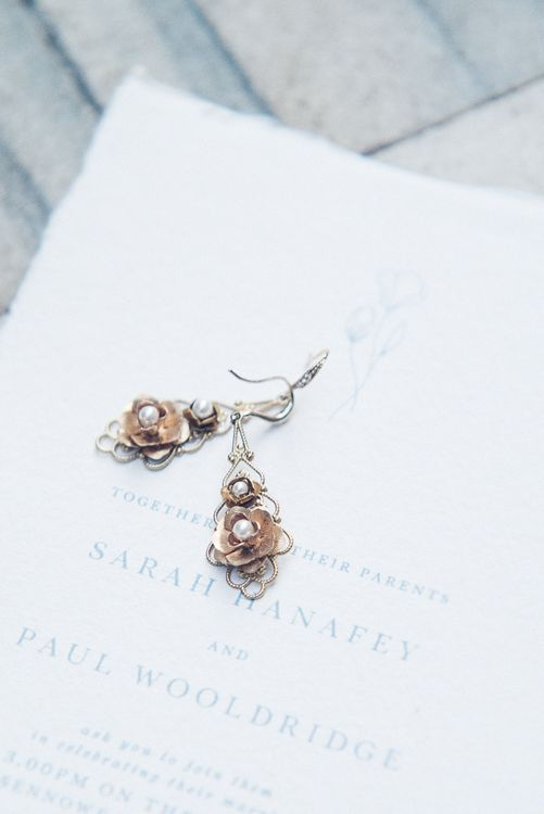 Quirky But Delicate Bridal Earrings // Winter Wedding Inspiration At Sennowe Park Norfolk With Cornflower Blue And Gold Details With Images From Salsabil Morrison Photography