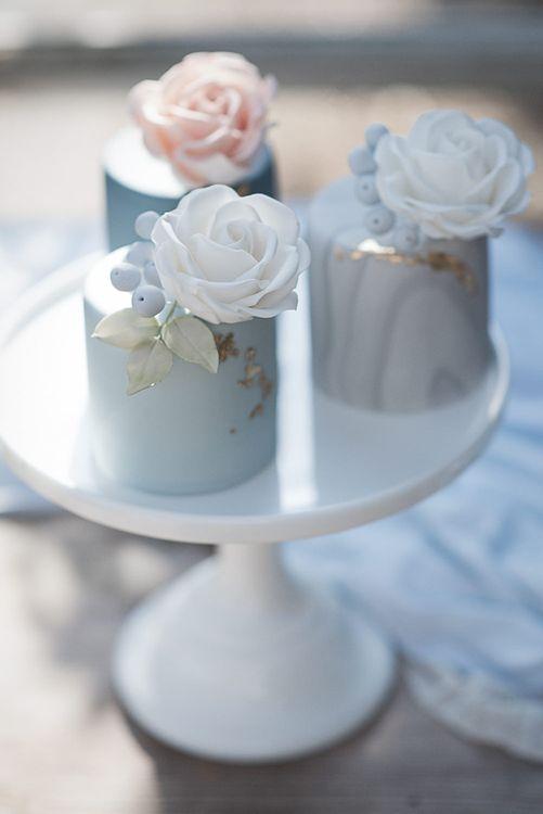 Cornflower Blue And Gold Wedding Cake // Winter Wedding Inspiration At Sennowe Park Norfolk With Cornflower Blue And Gold Details With Images From Salsabil Morrison Photography