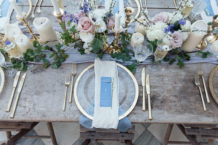 Cornflower Blue And Gold Wedding Decor // Winter Wedding Inspiration At Sennowe Park Norfolk With Cornflower Blue And Gold Details With Images From Salsabil Morrison Photography