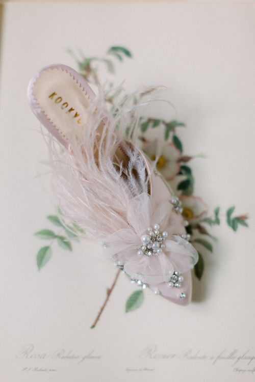 Slip on Diane Hassall   Wedding Shoes with Feathers
