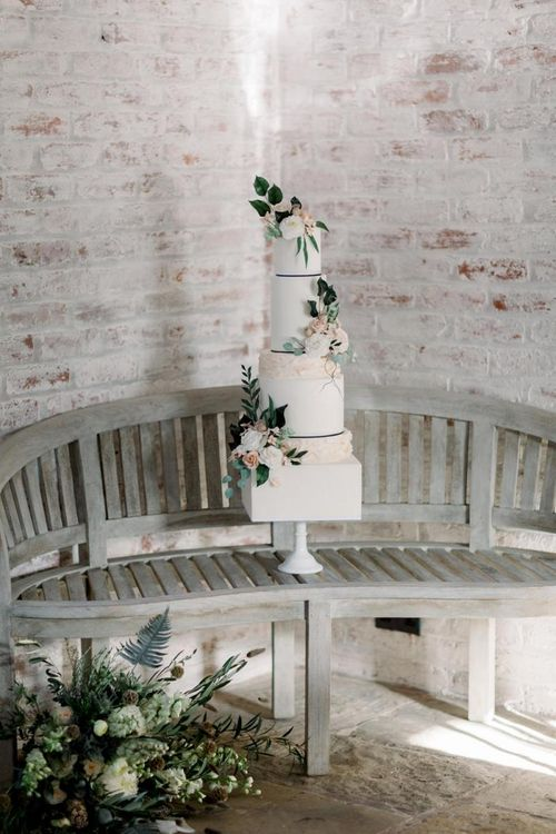 Tall Wedding Cake with Square and Circular Layers