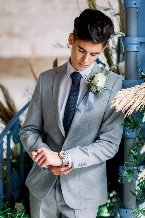 Groom with White Rose Buttonhole for Winter Wedding Inspiration