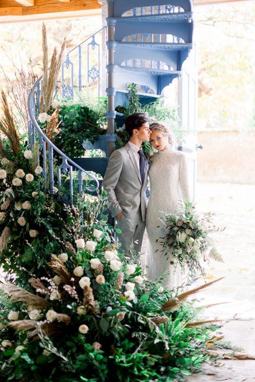 Bride and Groom Embracing at Dorfold Hall Winter Wedding Inspiration