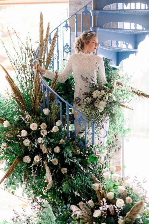 High Neck and Long Sleeve Winter Wedding Dress