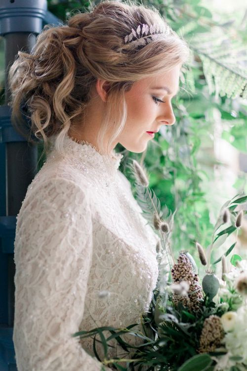 Pinned Bridal Updo with Silver Head-dress
