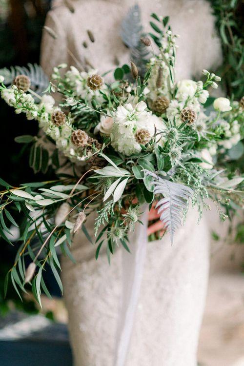 Foliage and White Flower Winter Wedding Bouquet