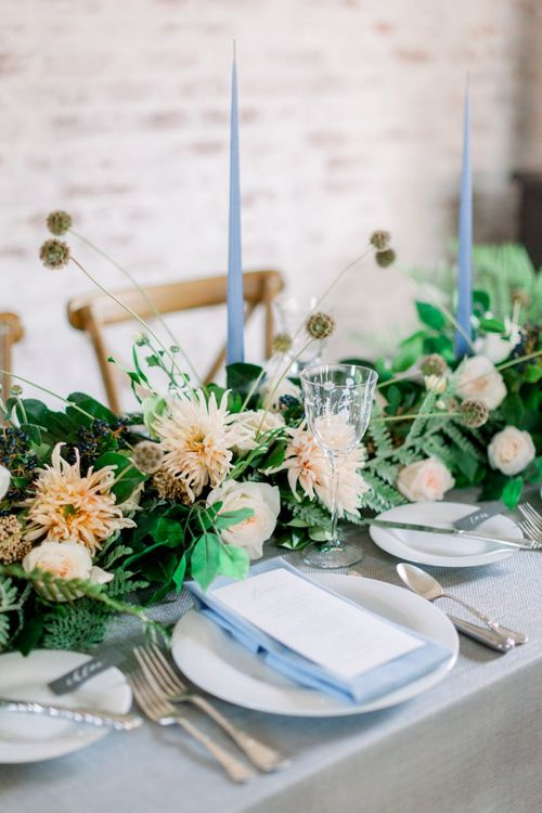 Winter wedding Table Flowers, Candles and Napkins