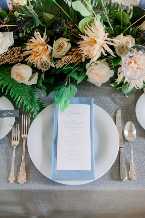 Place Setting with Pale Blue Napkin and Menu Card