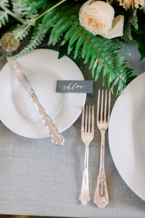 Silver Cutlery and Grey Name Place Card