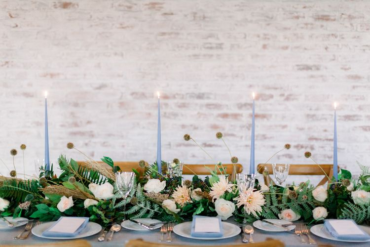 Winter Wedding Table Inspiration with Blue, Green, White and Peach Decor and Flowers