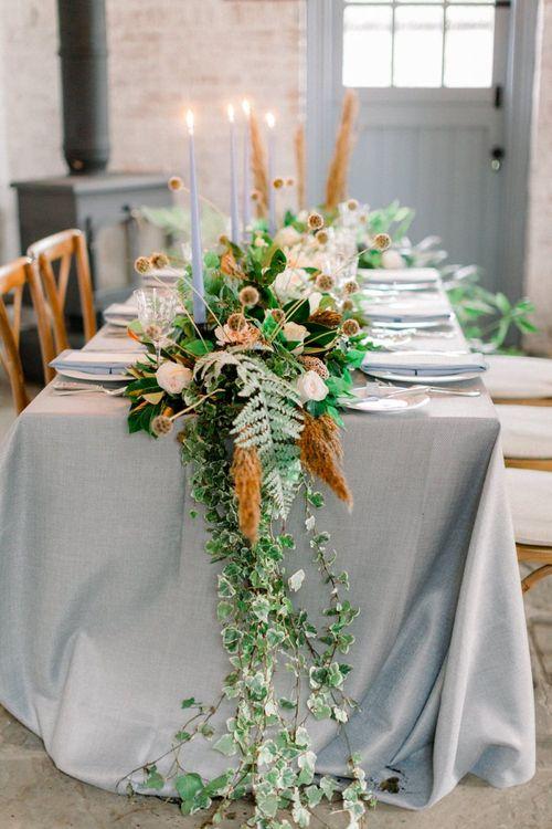 Winter Wedding Flower Table Centrepiece