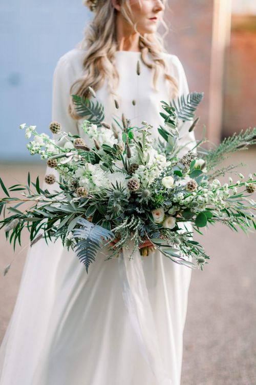 Oversized Green and White Wedding Bouquet