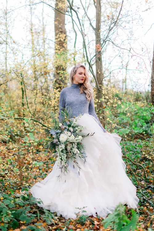 Winter Bride in Ruffle Skirt and Grey Jumper