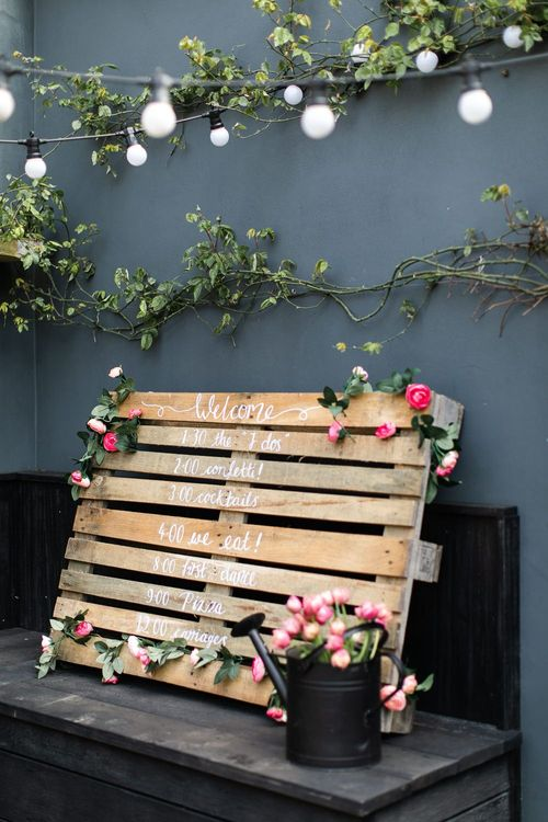 DIY Wooden Pallet Wedding Sign | Decor for a Outdoor Backyard or Barn Wedding with Rustic Details and Festoon Lighting