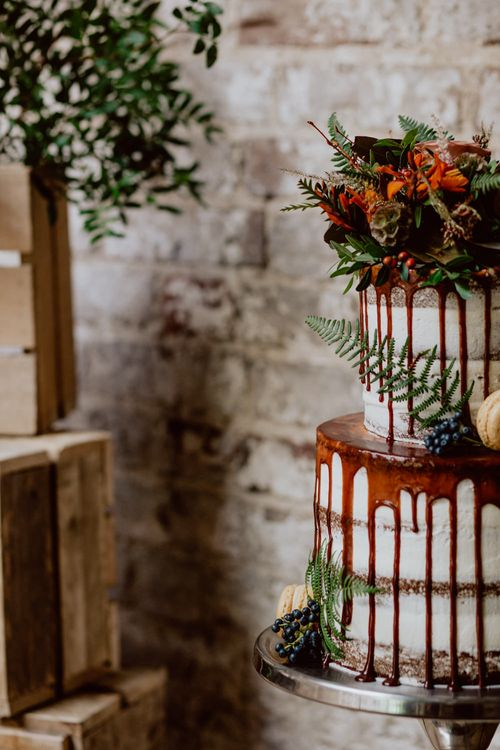 Grazing Board Wedding Food Semi Naked Cake With Drip Icing For Autumnal Wedding Reception At Patrick's Barn With Images By Brigitte & Thierry Photography