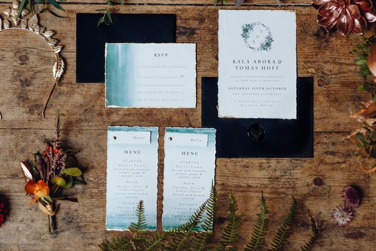 Blue And White Wedding Stationery Suite // Grazing Board Wedding Food Semi Naked Cake With Drip Icing For Autumnal Wedding Reception At Patrick's Barn With Images By Brigitte & Thierry Photography