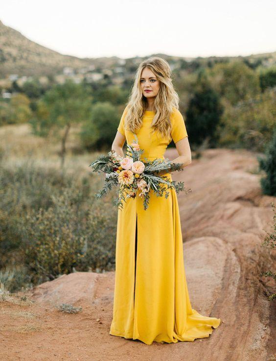 Sarah Seven Wedding Dress In Yellow