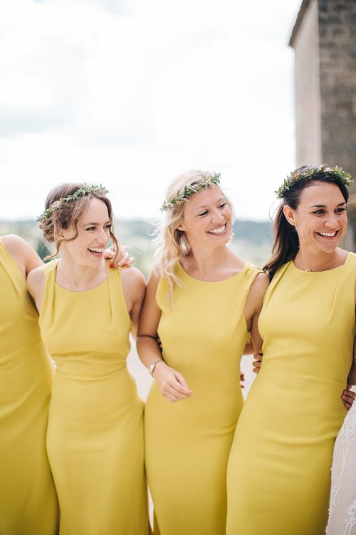 Bridesmaids In Mustard Yellow Dresses // Image By M&J Photography