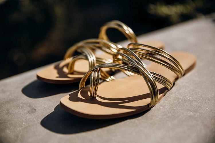 Gold sandal wedding shoes for bride