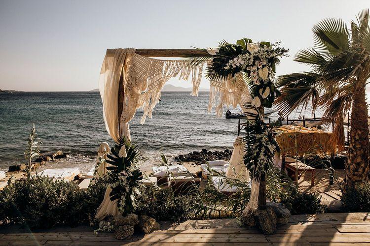 Macrame arch for wedding ceremony