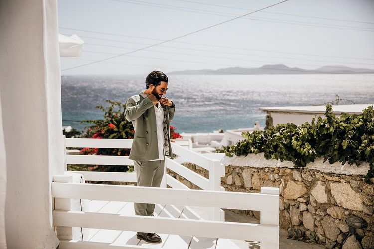 Groom preparations for destination wedding in Mykonos