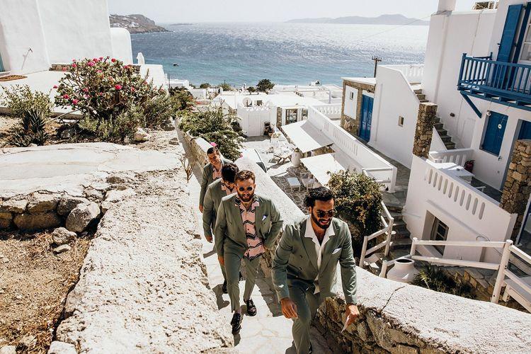 Groom with groomsmen at destination wedding in Mykonos
