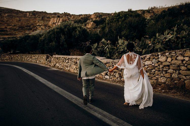 Cowl back Pronovias wedding dress for destination wedding