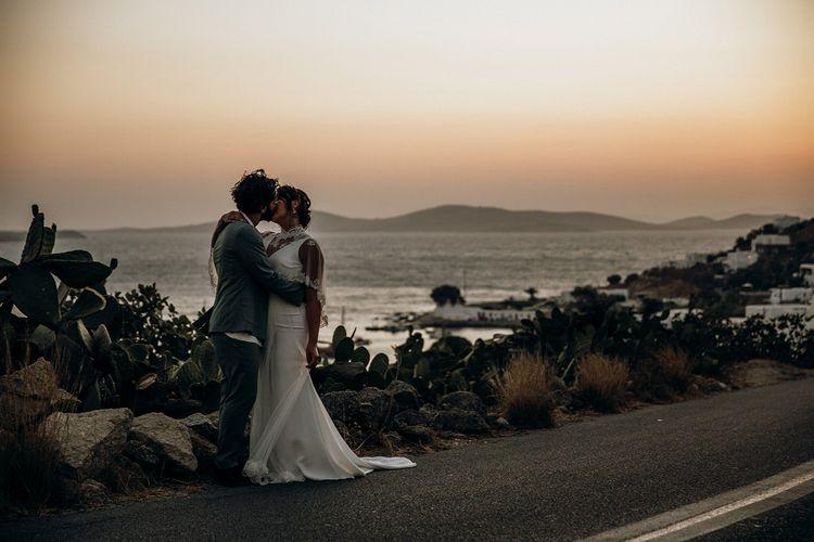 Sunset wedding portrait in Mykonos