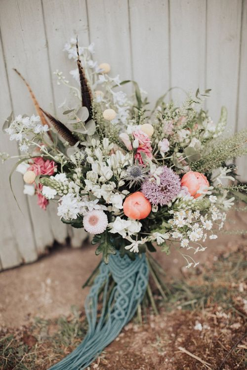 Wildflower Wedding Bouquet with Pink Peonies and Macrame