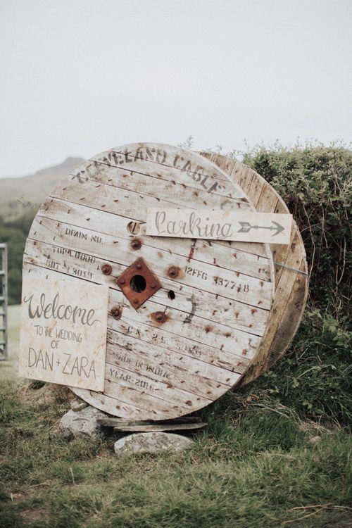 Wooden Cotton Reel Wedding Sign