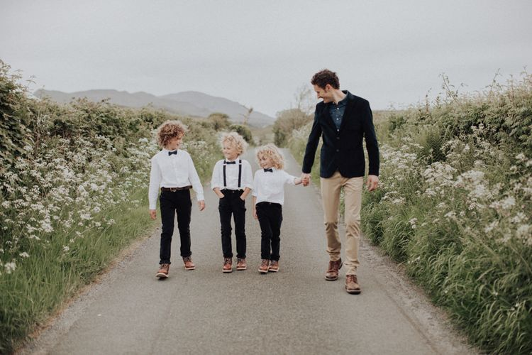 Groom and His Three Children Walking Down the Country Lane