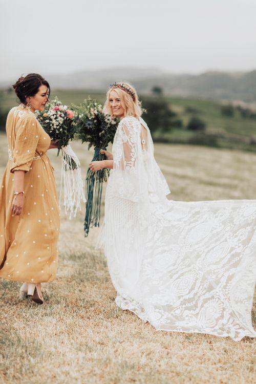 Bride in Rue De Seine Wedding Dress with Lace Detail