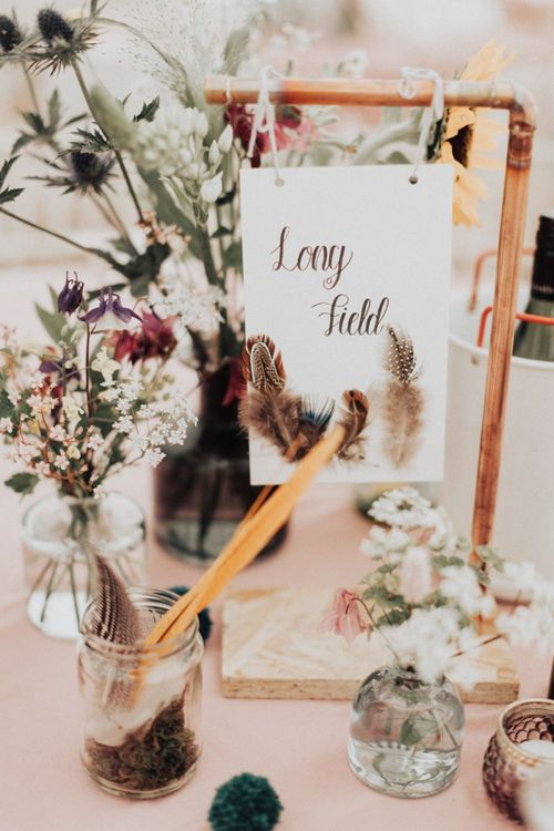 Copper Frame Table Number Sign with Feathers