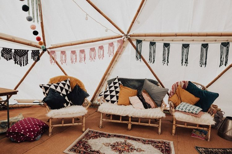 Chill Out Zone with Wicker Chairs, Macrame Bunting and Moroccan Rugs
