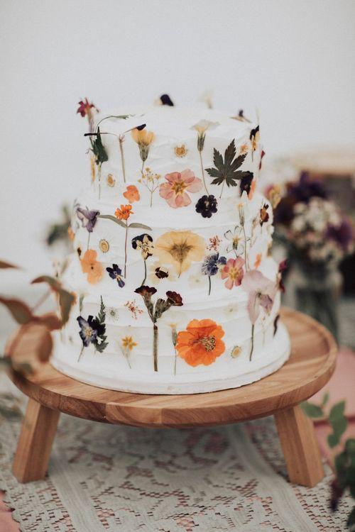 Homemade Wedding Cake with Edible Flowers Decor