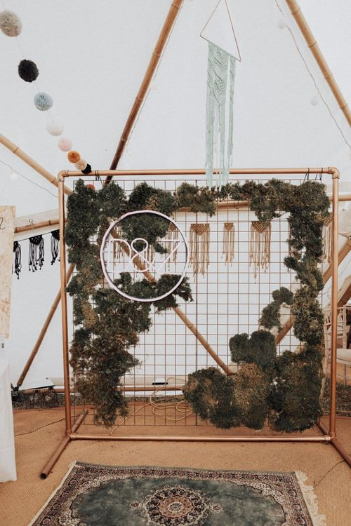 Copper Frame Backdrop Covered n Moss and Neon Sign