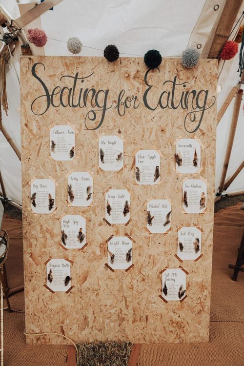 Large Plywood Seating Chart with Feather Wedding Decor