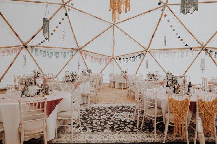 Boho Wedding Decor for a Geodome Wedding Reception