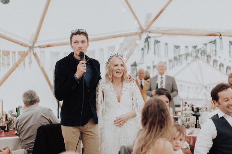 Bride and Groom Delivering the Wedding Speeches Together
