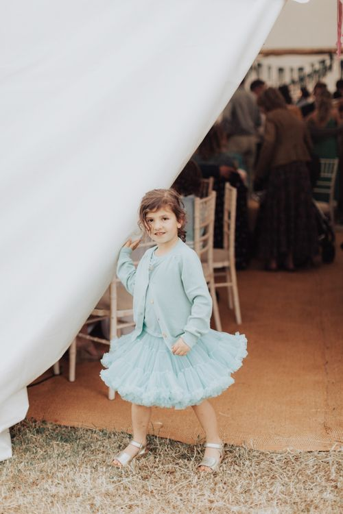Little Girl in Pretty Turquoise Tutu and Cardigan