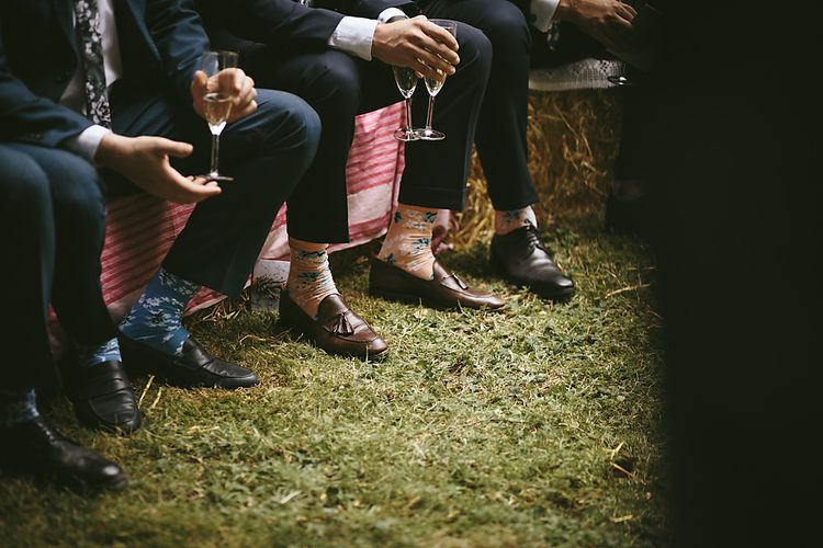 Socks and Loafers   Outdoor Ceremony & DIY Rustic Barn Wedding At The Brides Parents Home   Nigel John Photography