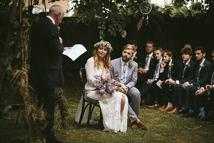 Boho Bride in Spell and The Gypsy Bridal Gown  & Flower Crown   Groom in Grey Suit   Outdoor Ceremony & DIY Rustic Barn Wedding At The Brides Parents Home   Nigel John Photography