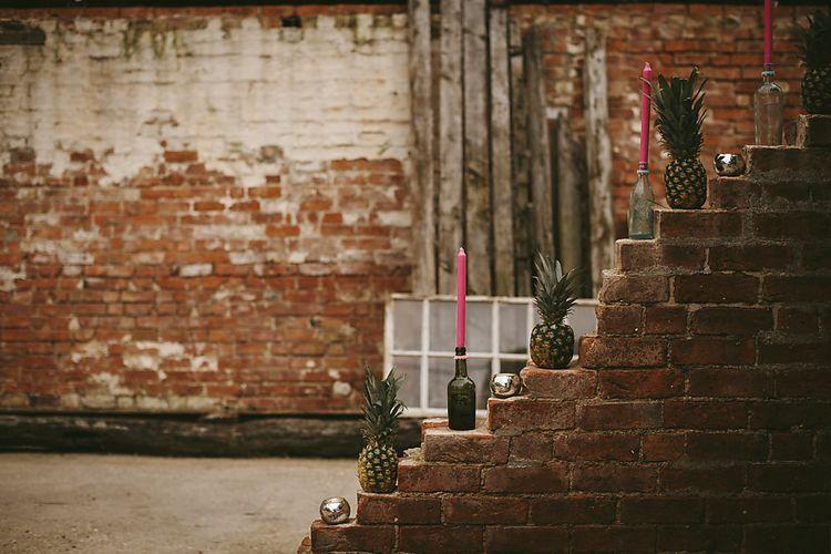 Pineapple Wedding Decor   Outdoor Ceremony & DIY Rustic Barn Wedding At The Brides Parents Home   Nigel John Photography
