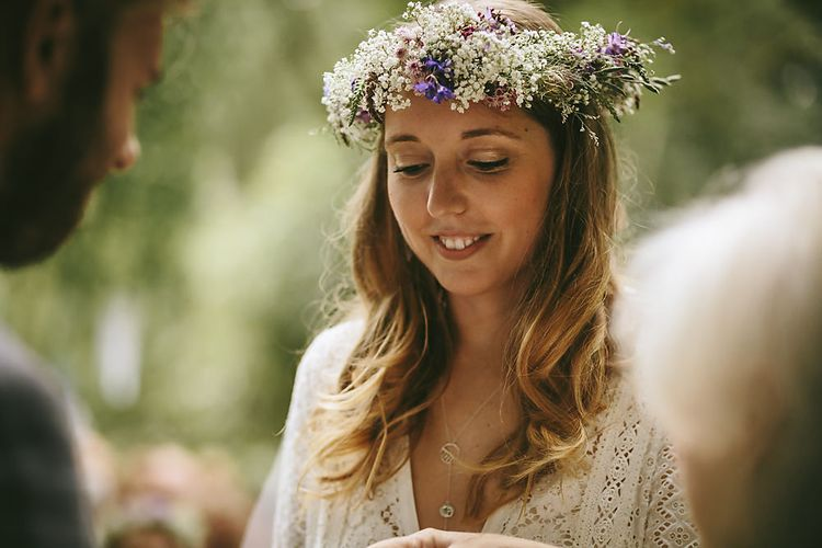 Boho Bride  with Flower Crown & Spell and The Gypsy Bridal Gown   Outdoor Ceremony & DIY Rustic Barn Wedding At The Brides Parents Home   Nigel John Photography