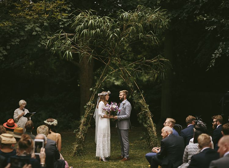 Aisle & Altar   Boho Bride in Spell and The Gypsy Bridal Gown  & Flower Crown   Groom in Grey Suit   Outdoor Ceremony & DIY Rustic Barn Wedding At The Brides Parents Home   Nigel John Photography