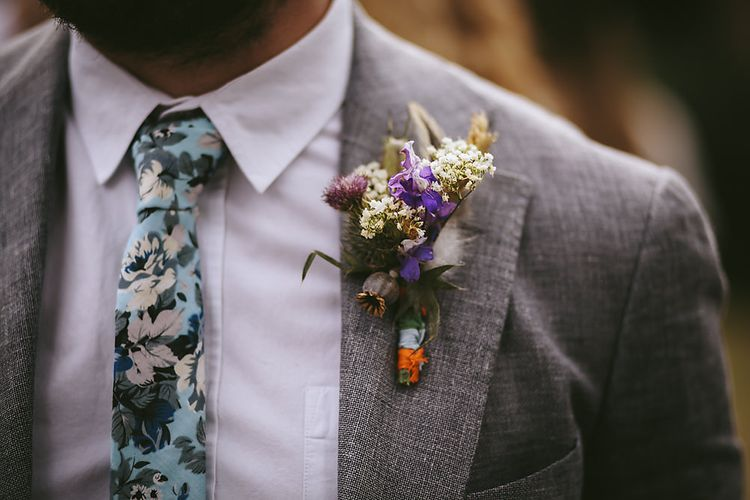 Wild Flower Bouquet   Groom in Grey Suit   Outdoor Ceremony & DIY Rustic Barn Wedding At The Brides Parents Home   Nigel John Photography