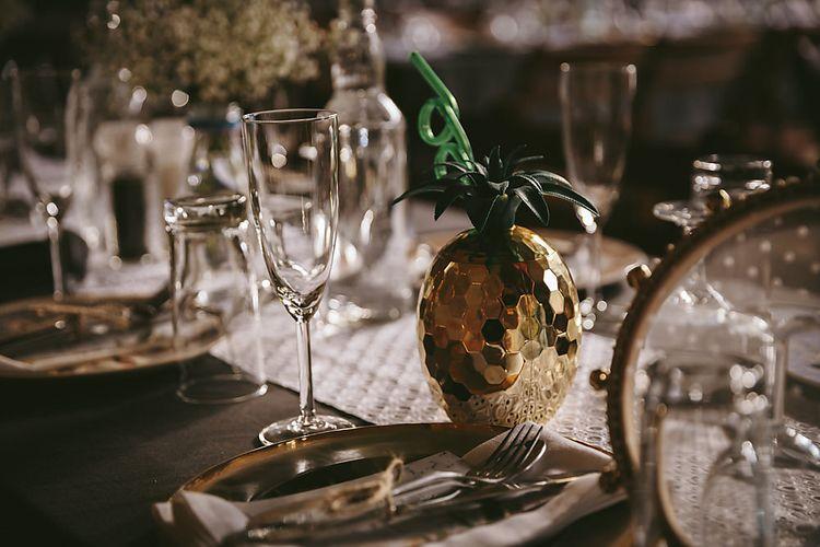 Golden Pineapple Wedding Decor    Outdoor Ceremony & DIY Rustic Barn Wedding At The Brides Parents Home   Nigel John Photography