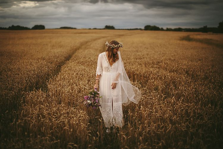 Boho Bride in Spell and The Gypsy Bridal Gown  & Flower Crown   Outdoor Ceremony & DIY Rustic Barn Wedding At The Brides Parents Home   Nigel John Photography