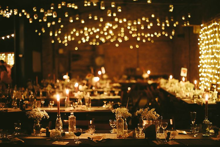 Fairy Light Reception   Outdoor Ceremony & DIY Rustic Barn Wedding At The Brides Parents Home   Nigel John Photography