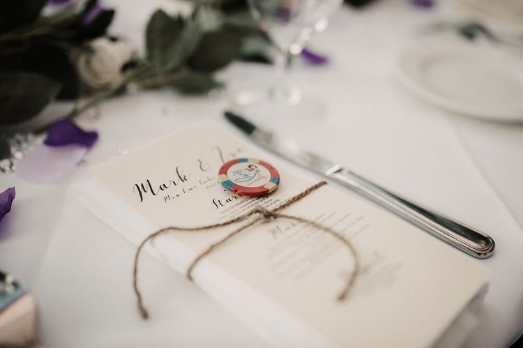 DIY wedding stationary with poker chips for Las Vegas wedding